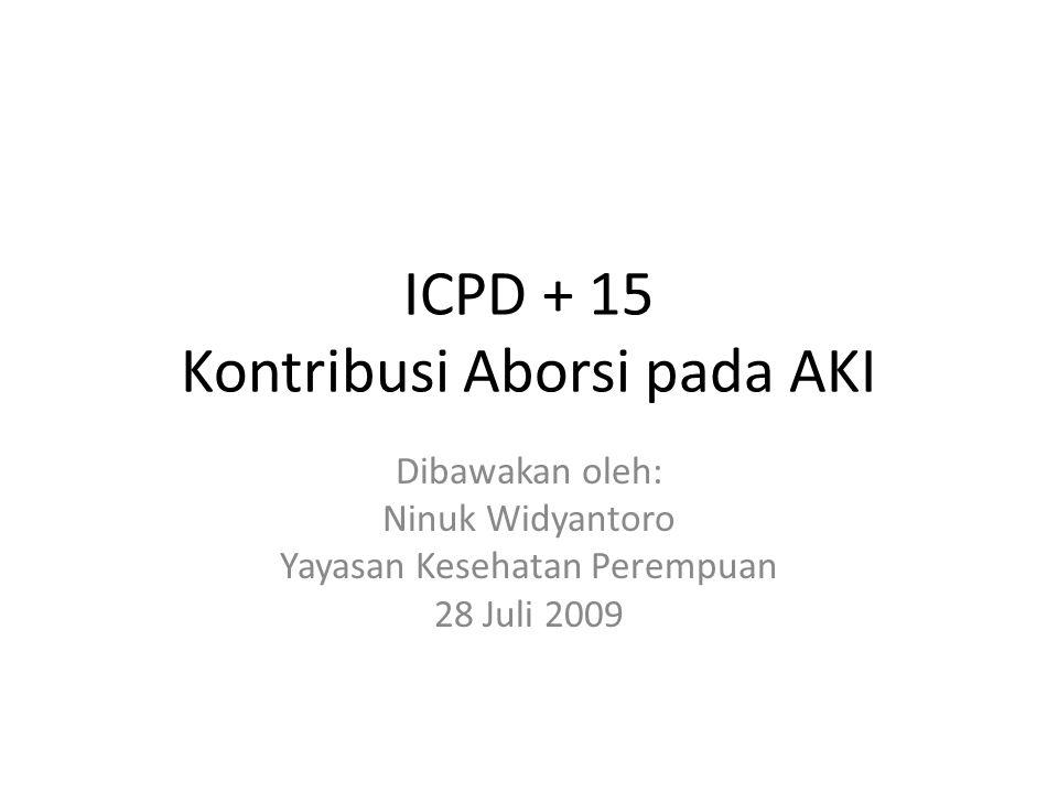 ICPD + 15 Kontribusi Aborsi pada AKI Dibawakan oleh: Ninuk Widyantoro Yayasan Kesehatan Perempuan 28 Juli 2009
