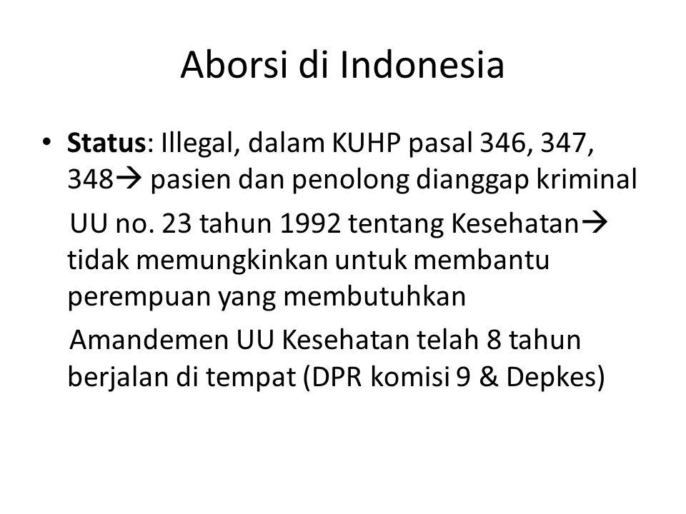 Aborsi di Indonesia Status: Illegal, dalam KUHP pasal 346, 347, 348  pasien dan penolong dianggap kriminal UU no. 23 tahun 1992 tentang Kesehatan  t