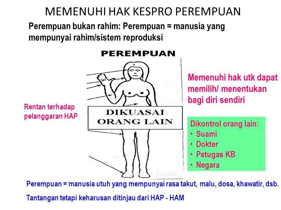 MEMENUHI HAK KESPRO PEREMPUAN Perempuan bukan rahim: Perempuan = manusia yang mempunyai rahim/sistem reproduksi Memenuhi hak utk dapat memilih/ menent