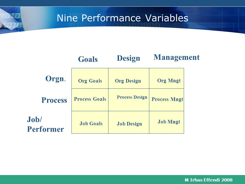 M Irhas Effendi 2008 Job/Performer Level of Performance The Performance Variables that must be managed;  Hiring  Promoting  Job responsibilities an