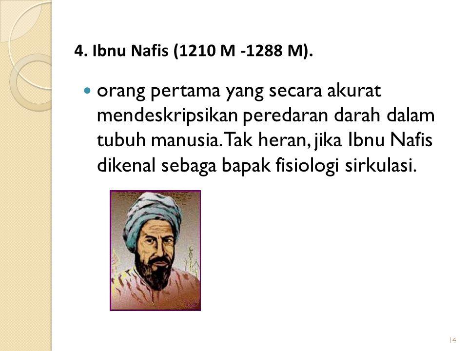 14 orang pertama yang secara akurat mendeskripsikan peredaran darah dalam tubuh manusia. Tak heran, jika Ibnu Nafis dikenal sebaga bapak fisiologi sir