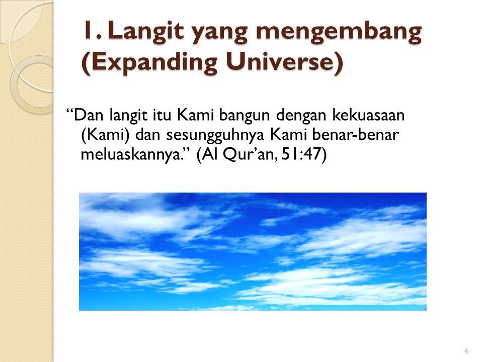 """1. Langit yang mengembang (Expanding Universe) """"Dan langit itu Kami bangun dengan kekuasaan (Kami) dan sesungguhnya Kami benar-benar meluaskannya."""" (A"""