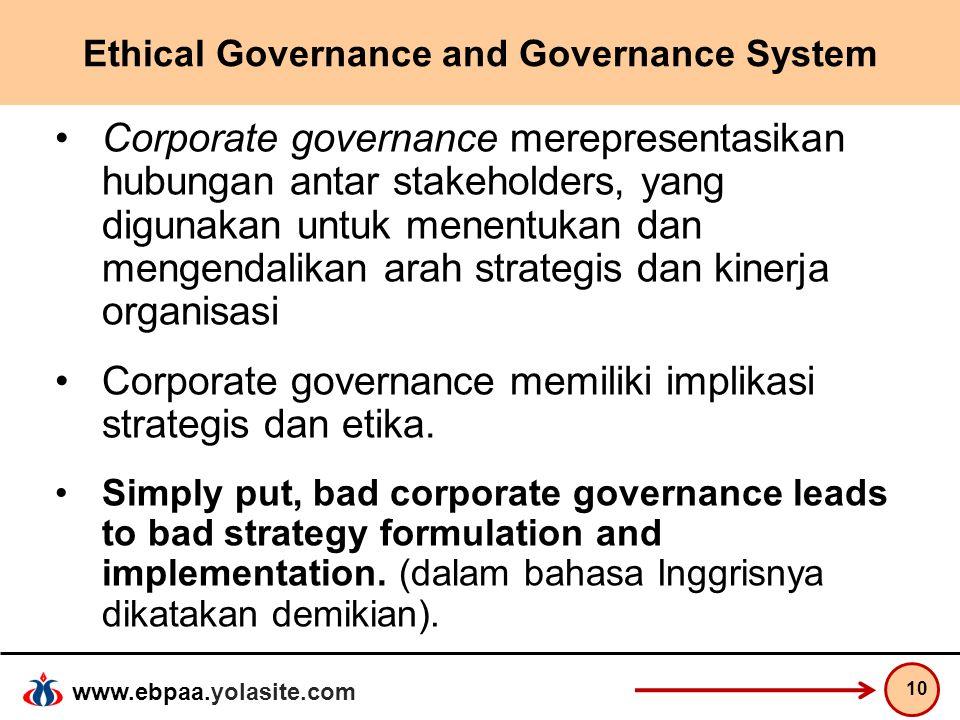 www.ebpaa.yolasite.com Ethical Governance and Governance System Corporate governance merepresentasikan hubungan antar stakeholders, yang digunakan unt