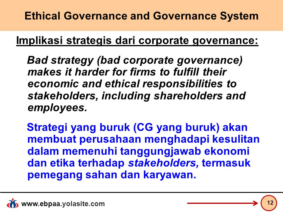 www.ebpaa.yolasite.com Ethical Governance and Governance System Implikasi strategis dari corporate governance: Bad strategy (bad corporate governance)