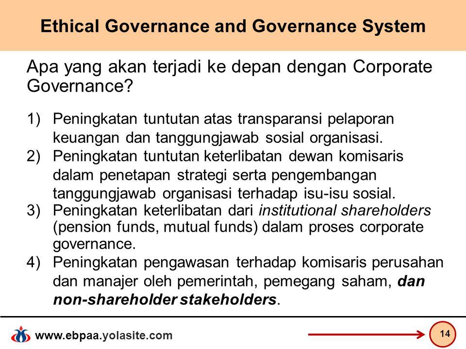 www.ebpaa.yolasite.com Ethical Governance and Governance System Apa yang akan terjadi ke depan dengan Corporate Governance? 1)Peningkatan tuntutan ata