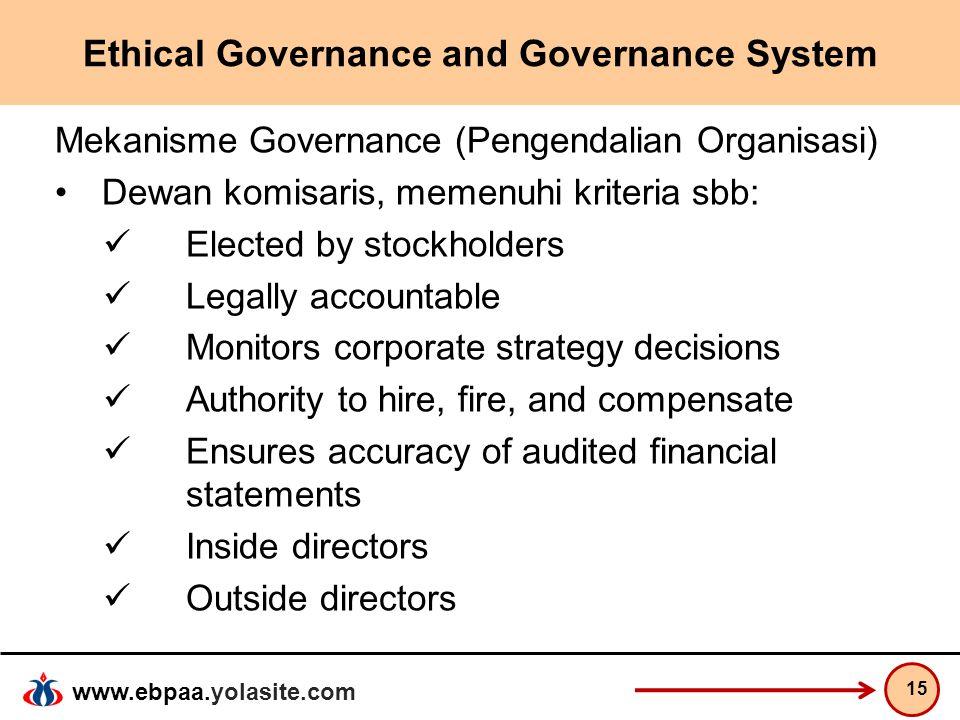 www.ebpaa.yolasite.com Ethical Governance and Governance System Mekanisme Governance (Pengendalian Organisasi) Dewan komisaris, memenuhi kriteria sbb: