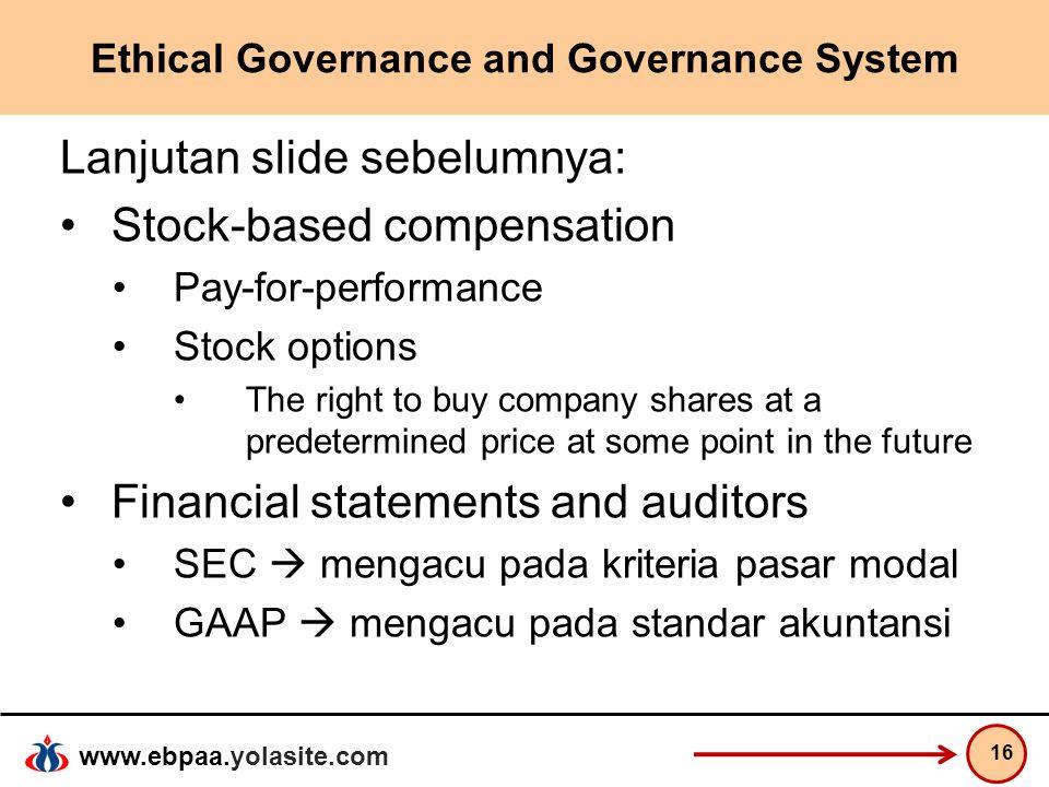 www.ebpaa.yolasite.com Ethical Governance and Governance System Lanjutan slide sebelumnya: Stock-based compensation Pay-for-performance Stock options