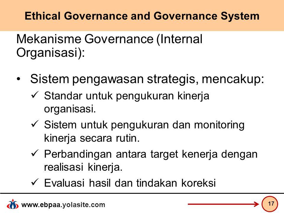 www.ebpaa.yolasite.com Ethical Governance and Governance System Mekanisme Governance (Internal Organisasi): Sistem pengawasan strategis, mencakup: Sta
