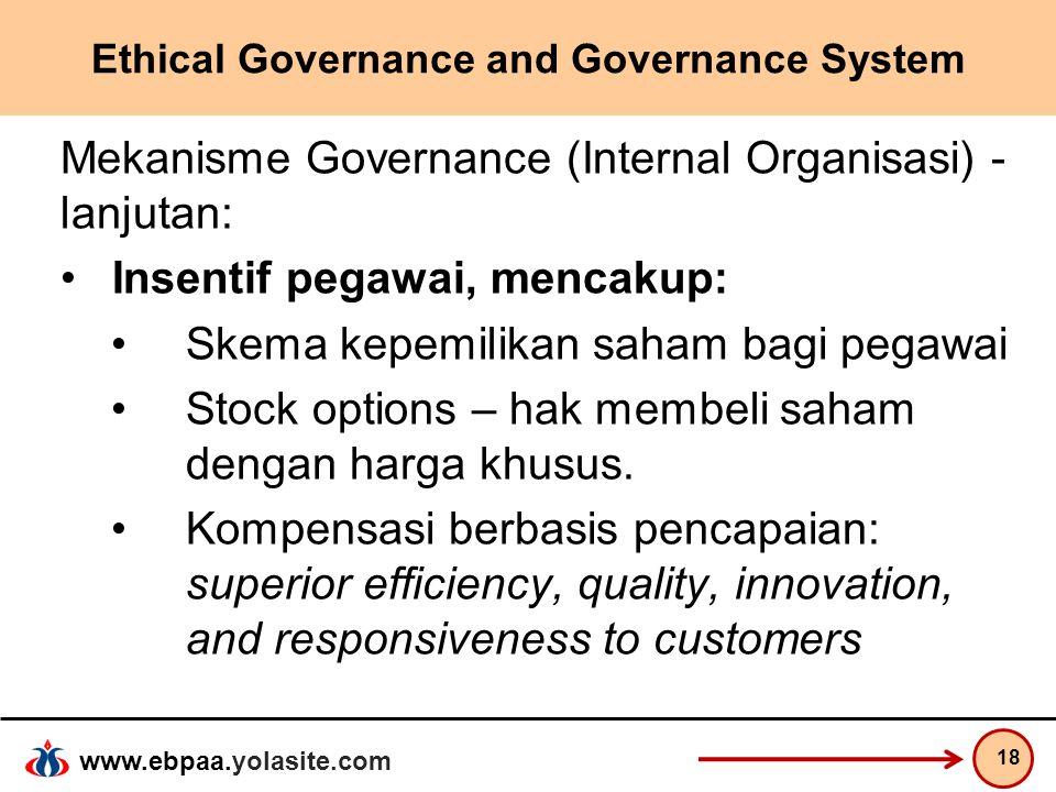 www.ebpaa.yolasite.com Ethical Governance and Governance System Mekanisme Governance (Internal Organisasi) - lanjutan: Insentif pegawai, mencakup: Ske