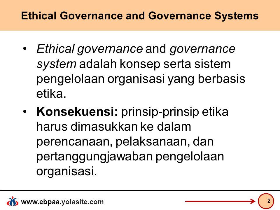 www.ebpaa.yolasite.com Ethical Governance and Governance Systems Ethical governance and governance system adalah konsep serta sistem pengelolaan organ