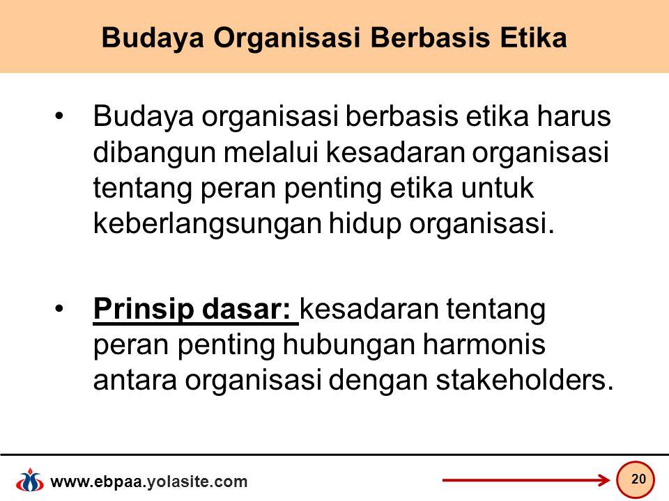 www.ebpaa.yolasite.com Budaya Organisasi Berbasis Etika Budaya organisasi berbasis etika harus dibangun melalui kesadaran organisasi tentang peran pen