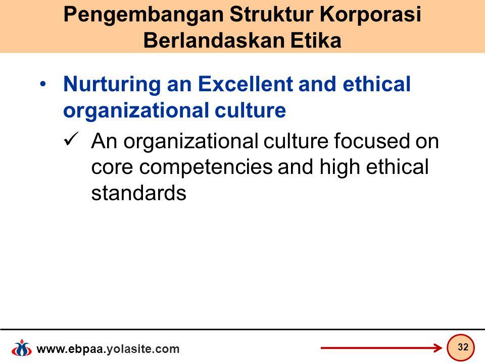 www.ebpaa.yolasite.com Pengembangan Struktur Korporasi Berlandaskan Etika Nurturing an Excellent and ethical organizational culture An organizational