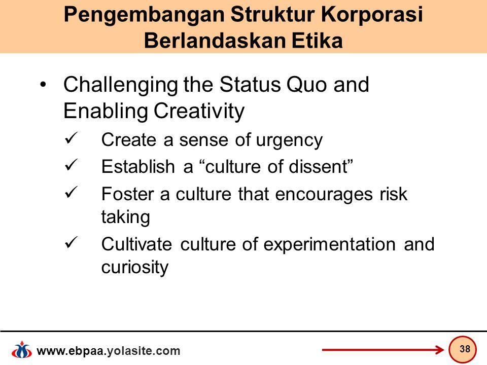 www.ebpaa.yolasite.com Pengembangan Struktur Korporasi Berlandaskan Etika Challenging the Status Quo and Enabling Creativity Create a sense of urgency