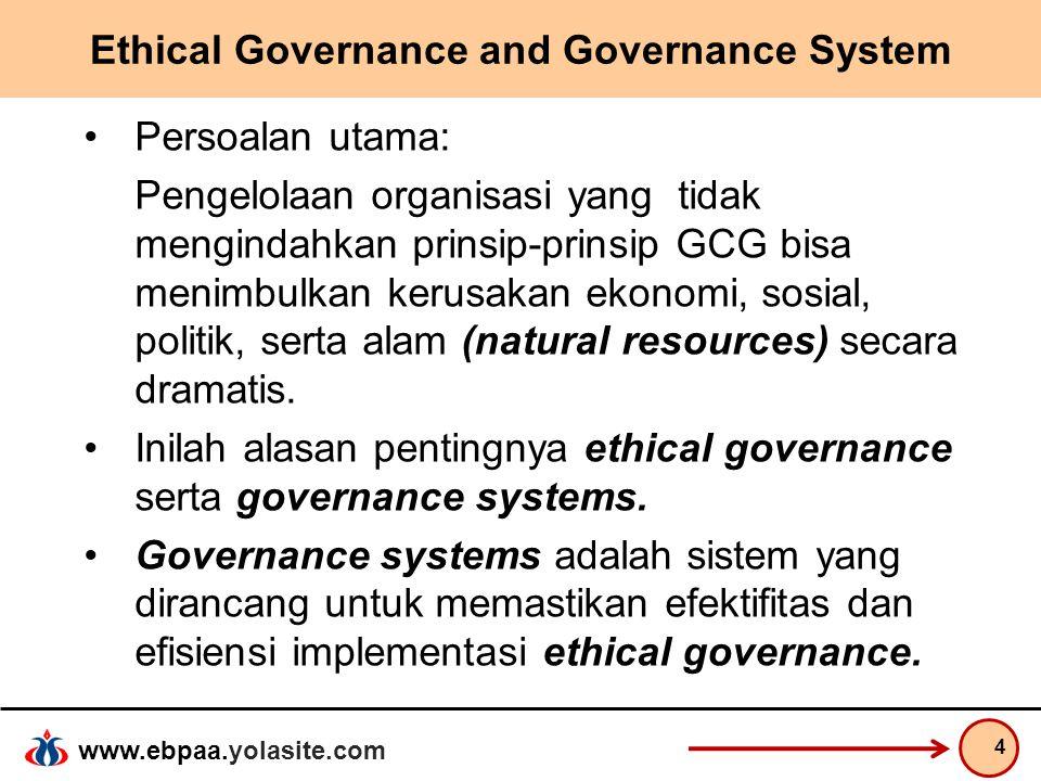 www.ebpaa.yolasite.com Ethical Governance and Governance System Sebelum isu Corporate Governance atau Good Corporate Governance (GCG) mengemuka dan menjadi populer, telah muncul konsep pengendalian organisasi yang dikenal dengan SPI (Sistem Pengendalian Interen), yang di kembangkan oleh COSO (Committee of Sponsoring Organizations).