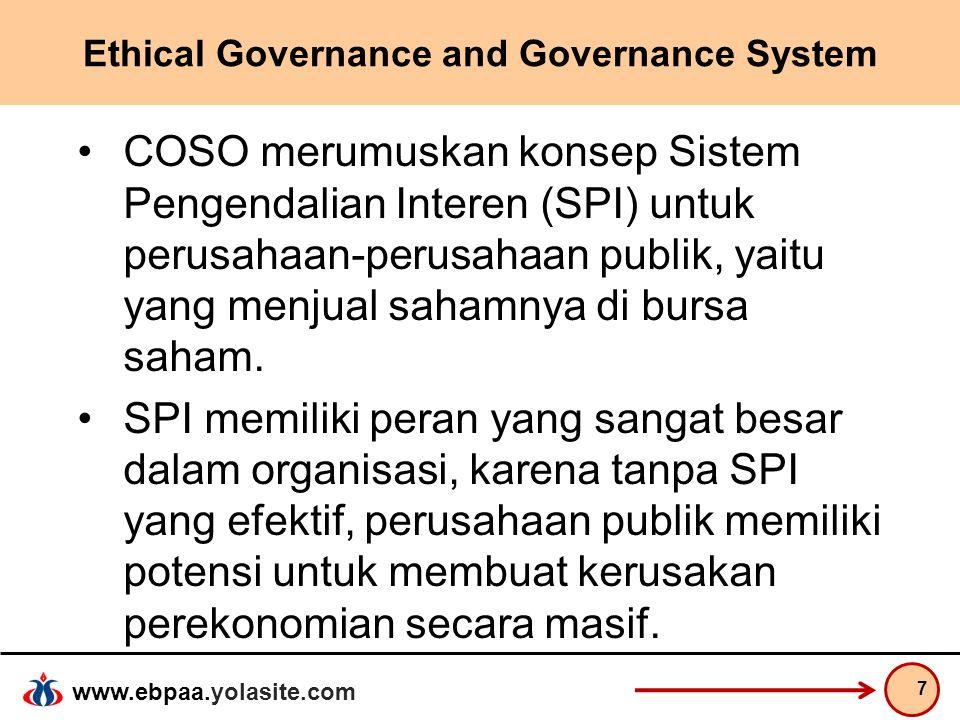 www.ebpaa.yolasite.com Ethical Governance and Governance System COSO merumuskan konsep Sistem Pengendalian Interen (SPI) untuk perusahaan-perusahaan p