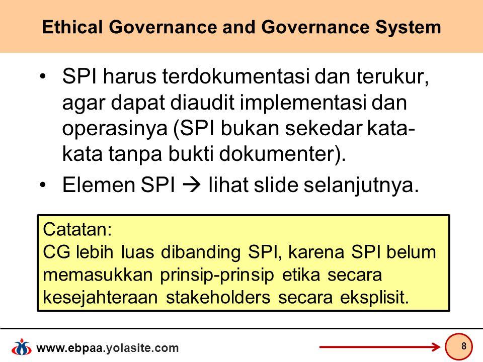 www.ebpaa.yolasite.com Ethical Governance and Governance System SPI harus terdokumentasi dan terukur, agar dapat diaudit implementasi dan operasinya (
