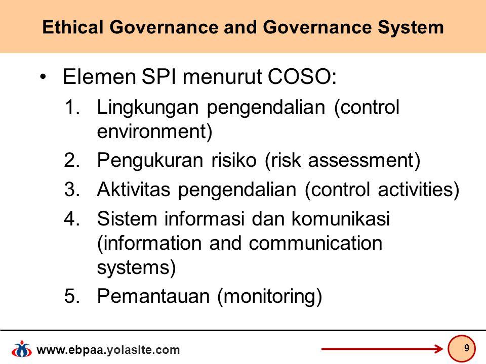 www.ebpaa.yolasite.com Ethical Governance and Governance System Elemen SPI menurut COSO: 1.Lingkungan pengendalian (control environment) 2.Pengukuran