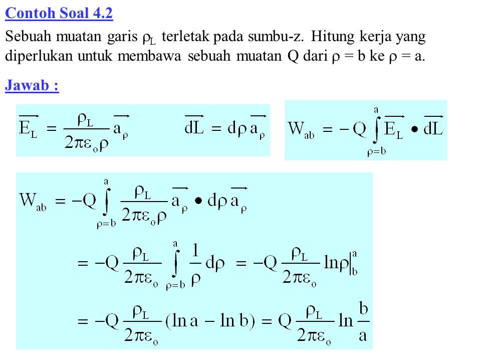 Contoh Soal 4.2 Sebuah muatan garis  L terletak pada sumbu-z. Hitung kerja yang diperlukan untuk membawa sebuah muatan Q dari  = b ke  = a. Jawab :
