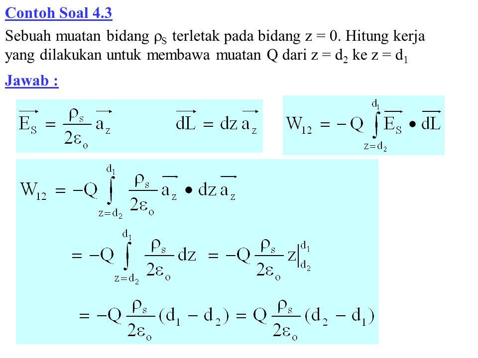 Contoh Soal 4.3 Sebuah muatan bidang  S terletak pada bidang z = 0. Hitung kerja yang dilakukan untuk membawa muatan Q dari z = d 2 ke z = d 1 Jawab