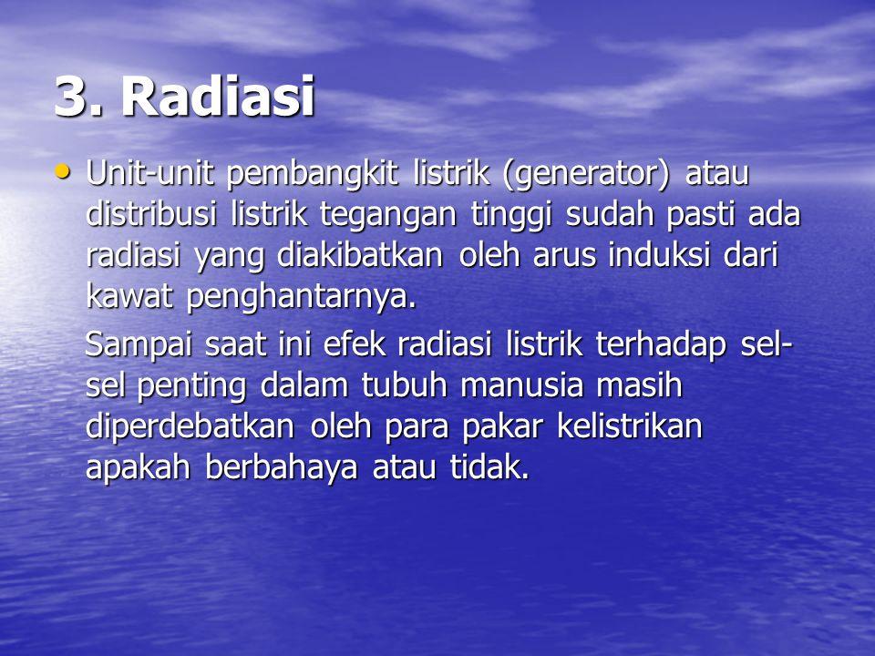 3. Radiasi Unit-unit pembangkit listrik (generator) atau distribusi listrik tegangan tinggi sudah pasti ada radiasi yang diakibatkan oleh arus induksi