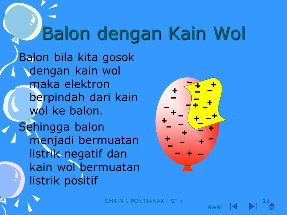 Balon dengan Kain Wol Balon bila kita gosok dengan kain wol maka elektron berpindah dari kain wol ke balon. Sehingga balon menjadi bermuatan listrik n