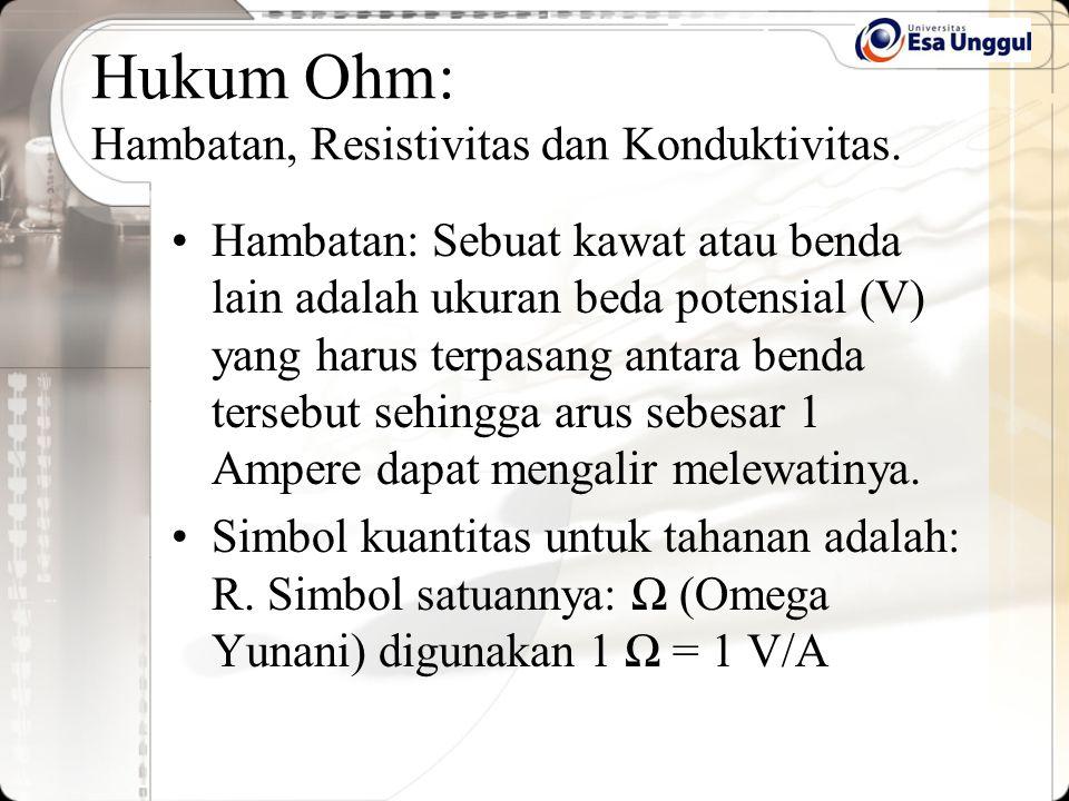 Hukum Ohm: Hambatan, Resistivitas dan Konduktivitas. Hambatan: Sebuat kawat atau benda lain adalah ukuran beda potensial (V) yang harus terpasang anta