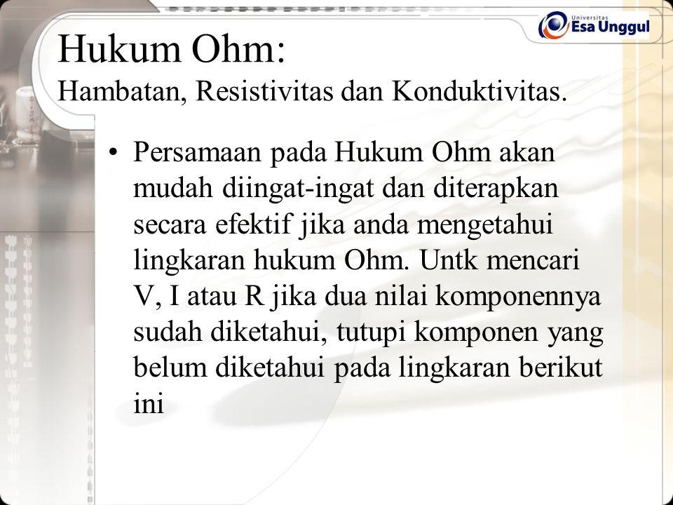 Persamaan pada Hukum Ohm akan mudah diingat-ingat dan diterapkan secara efektif jika anda mengetahui lingkaran hukum Ohm. Untk mencari V, I atau R jik