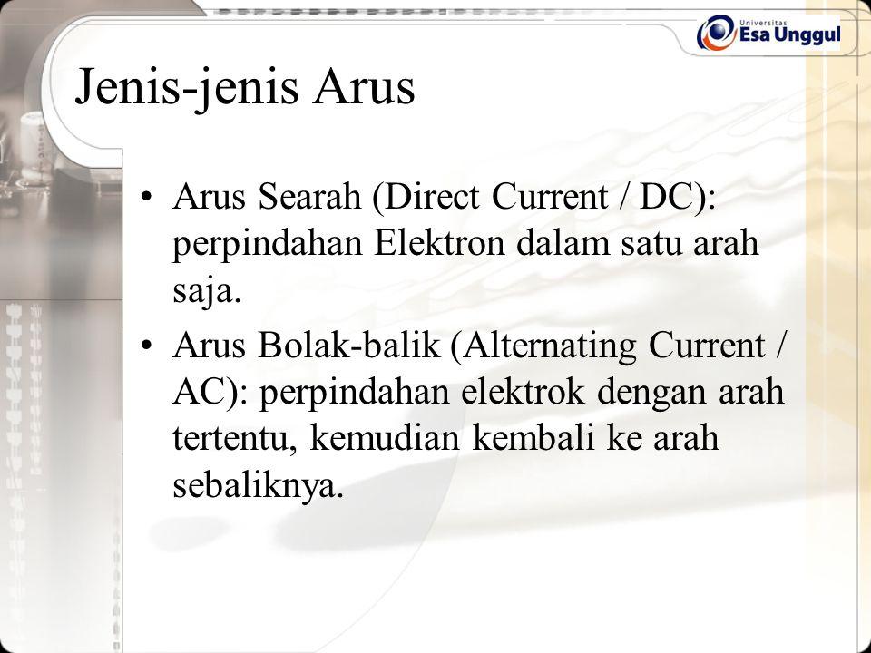 Jenis-jenis Arus Arus Searah (Direct Current / DC): perpindahan Elektron dalam satu arah saja. Arus Bolak-balik (Alternating Current / AC): perpindaha