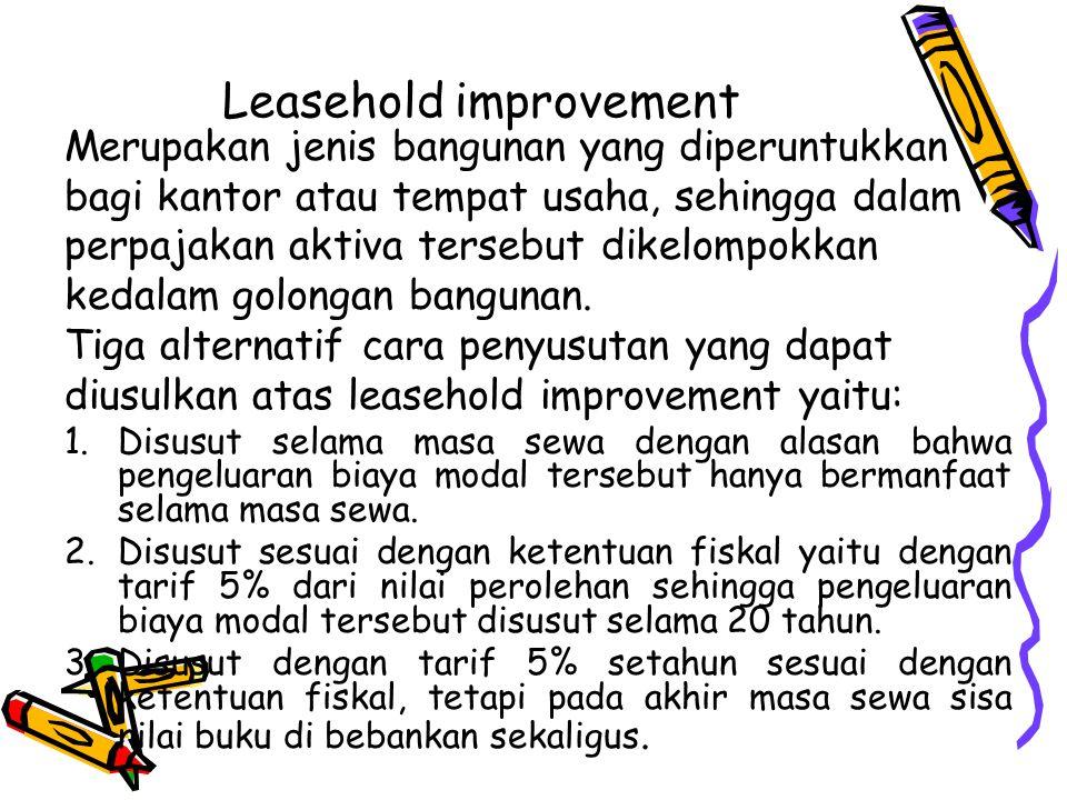 Leasehold improvement Merupakan jenis bangunan yang diperuntukkan bagi kantor atau tempat usaha, sehingga dalam perpajakan aktiva tersebut dikelompokk