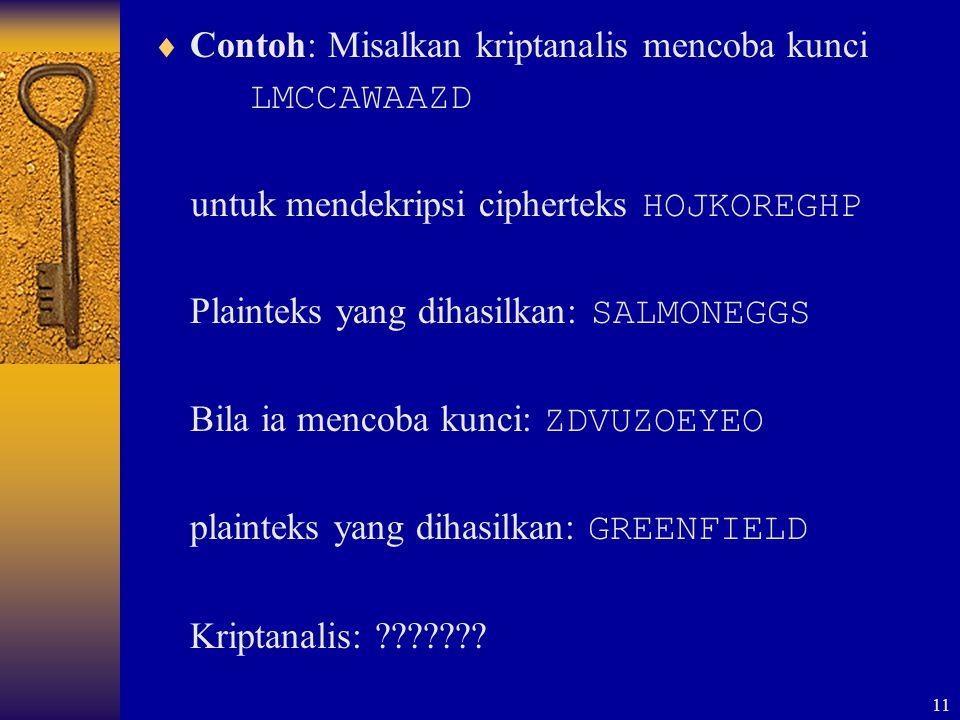 11  Contoh: Misalkan kriptanalis mencoba kunci LMCCAWAAZD untuk mendekripsi cipherteks HOJKOREGHP Plainteks yang dihasilkan: SALMONEGGS Bila ia menco