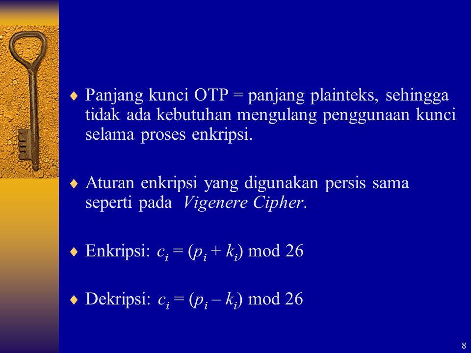 8  Panjang kunci OTP = panjang plainteks, sehingga tidak ada kebutuhan mengulang penggunaan kunci selama proses enkripsi.  Aturan enkripsi yang digu
