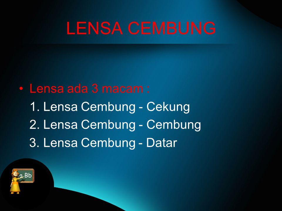 LENSA CEKUNG Lensa ada 3 macam : 1.Lensa Cekung - Cekung 2.