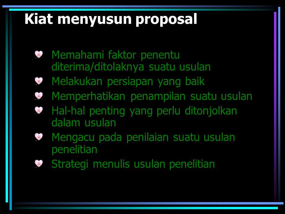 Kiat menyusun proposal Memahami faktor penentu diterima/ditolaknya suatu usulan Melakukan persiapan yang baik Memperhatikan penampilan suatu usulan Ha