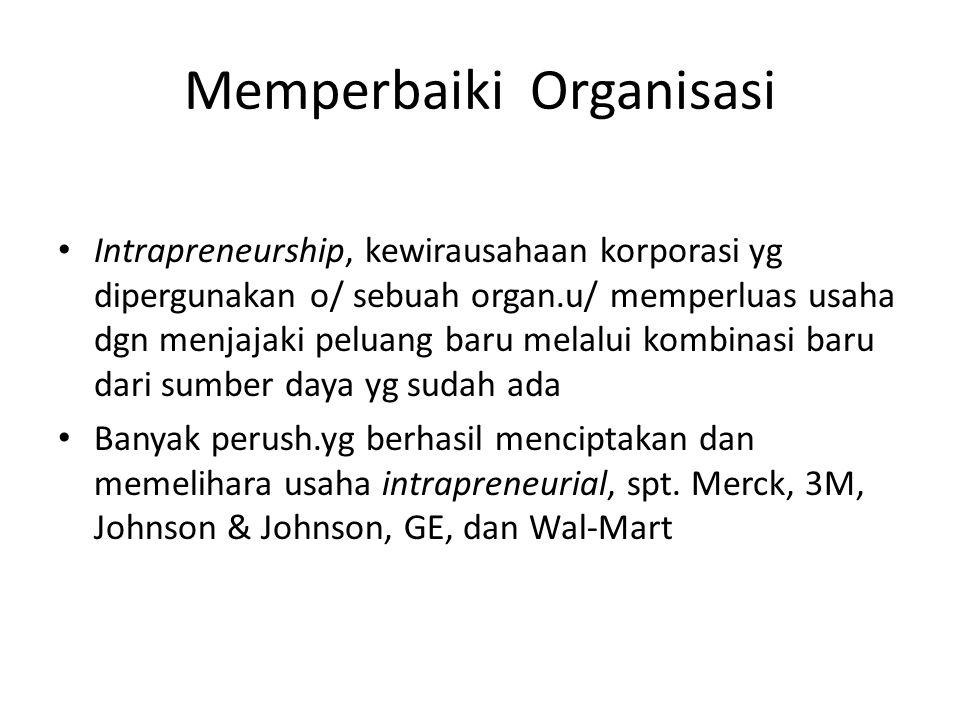 Memperbaiki Organisasi Intrapreneurship, kewirausahaan korporasi yg dipergunakan o/ sebuah organ.u/ memperluas usaha dgn menjajaki peluang baru melalu