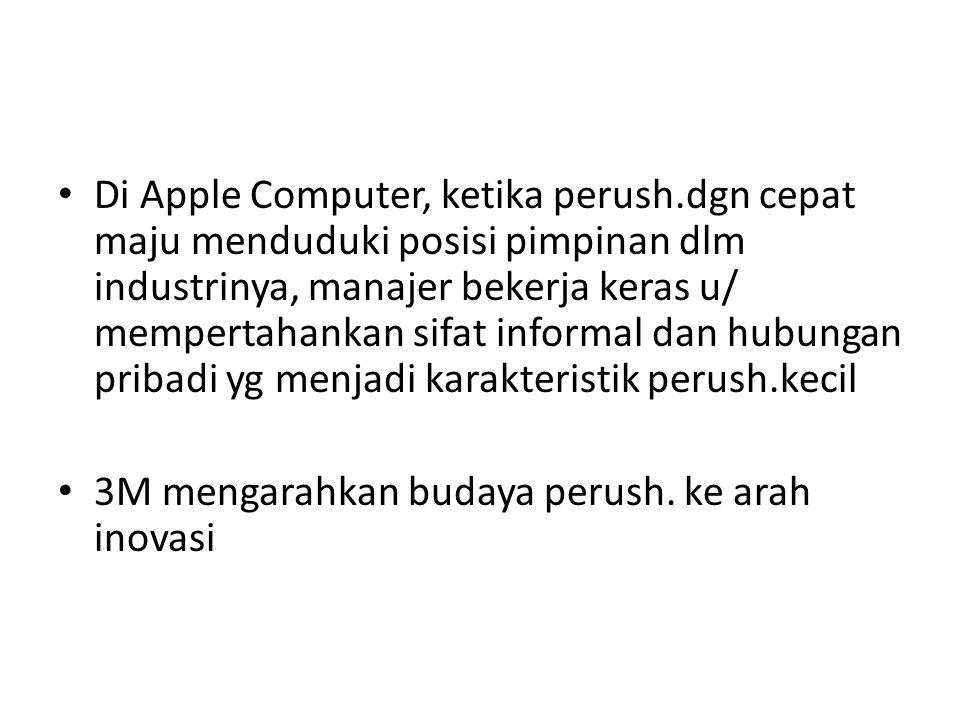 Di Apple Computer, ketika perush.dgn cepat maju menduduki posisi pimpinan dlm industrinya, manajer bekerja keras u/ mempertahankan sifat informal dan