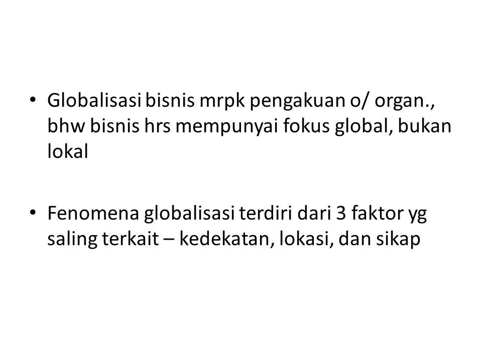 Globalisasi bisnis mrpk pengakuan o/ organ., bhw bisnis hrs mempunyai fokus global, bukan lokal Fenomena globalisasi terdiri dari 3 faktor yg saling terkait – kedekatan, lokasi, dan sikap