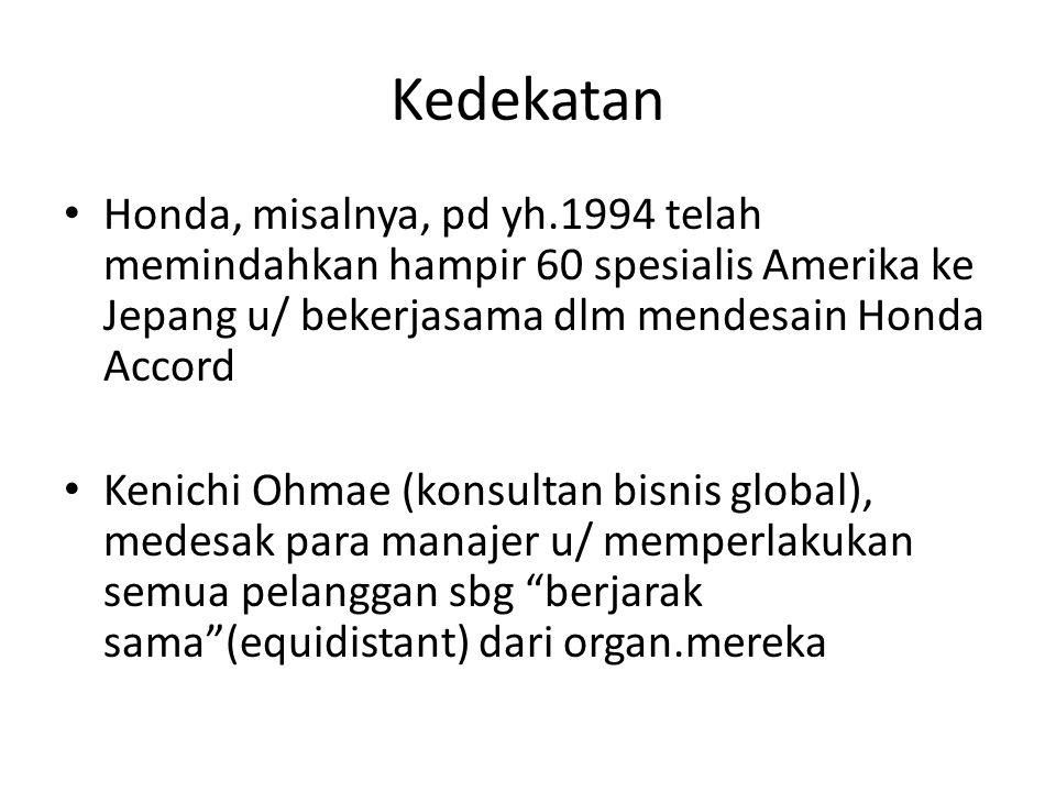 Kedekatan Honda, misalnya, pd yh.1994 telah memindahkan hampir 60 spesialis Amerika ke Jepang u/ bekerjasama dlm mendesain Honda Accord Kenichi Ohmae (konsultan bisnis global), medesak para manajer u/ memperlakukan semua pelanggan sbg berjarak sama (equidistant) dari organ.mereka