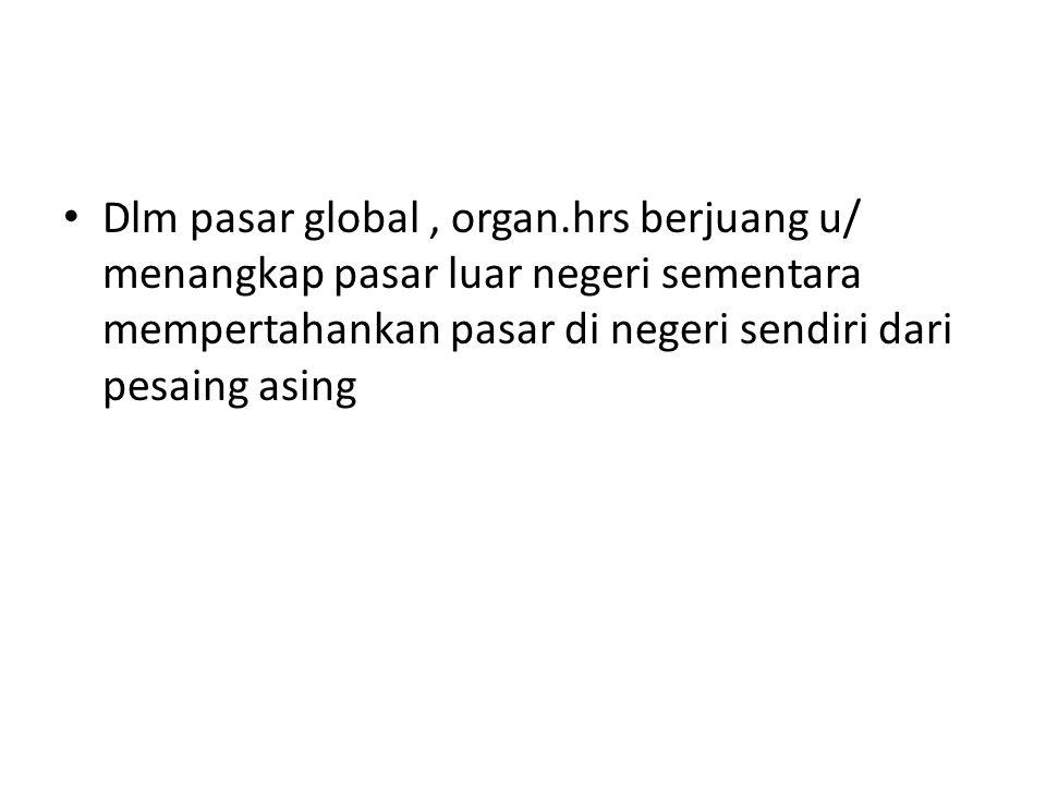 Dlm pasar global, organ.hrs berjuang u/ menangkap pasar luar negeri sementara mempertahankan pasar di negeri sendiri dari pesaing asing