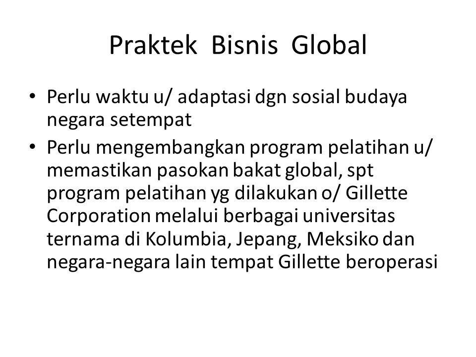 Praktek Bisnis Global Perlu waktu u/ adaptasi dgn sosial budaya negara setempat Perlu mengembangkan program pelatihan u/ memastikan pasokan bakat glob
