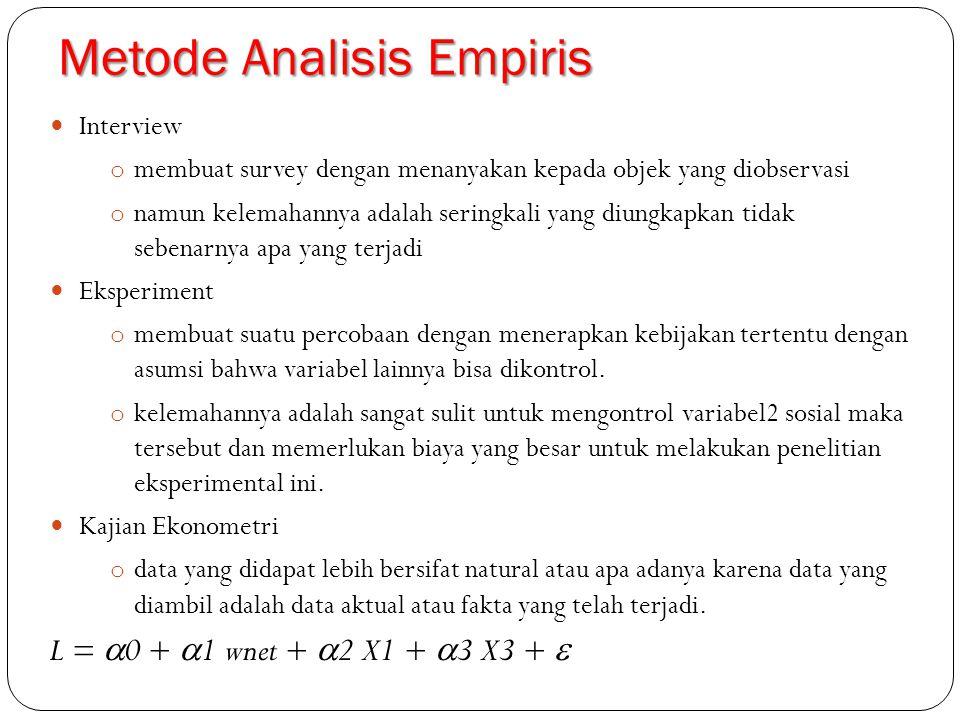 Metode Analisis Empiris Interview o membuat survey dengan menanyakan kepada objek yang diobservasi o namun kelemahannya adalah seringkali yang diungka