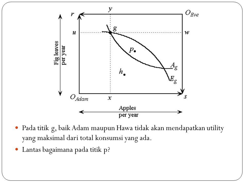 Pada titik g, baik Adam maupun Hawa tidak akan mendapatkan utility yang maksimal dari total konsumsi yang ada. Lantas bagaimana pada titik p?