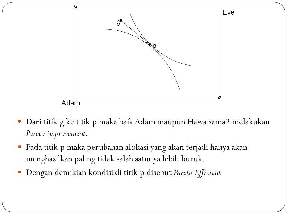 Dari titik g ke titik p maka baik Adam maupun Hawa sama2 melakukan Pareto improvement. Pada titik p maka perubahan alokasi yang akan terjadi hanya aka