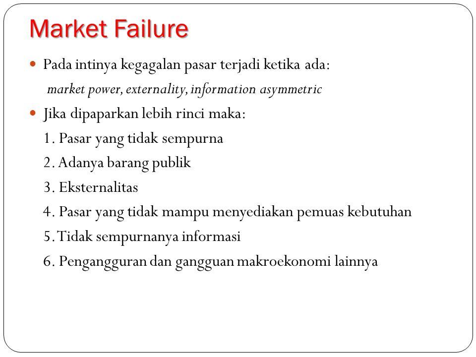 Market Failure Pada intinya kegagalan pasar terjadi ketika ada: market power, externality, information asymmetric Jika dipaparkan lebih rinci maka: 1.