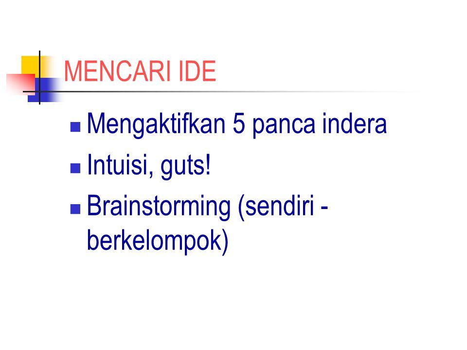 MENCARI IDE Mengaktifkan 5 panca indera Intuisi, guts! Brainstorming (sendiri - berkelompok)