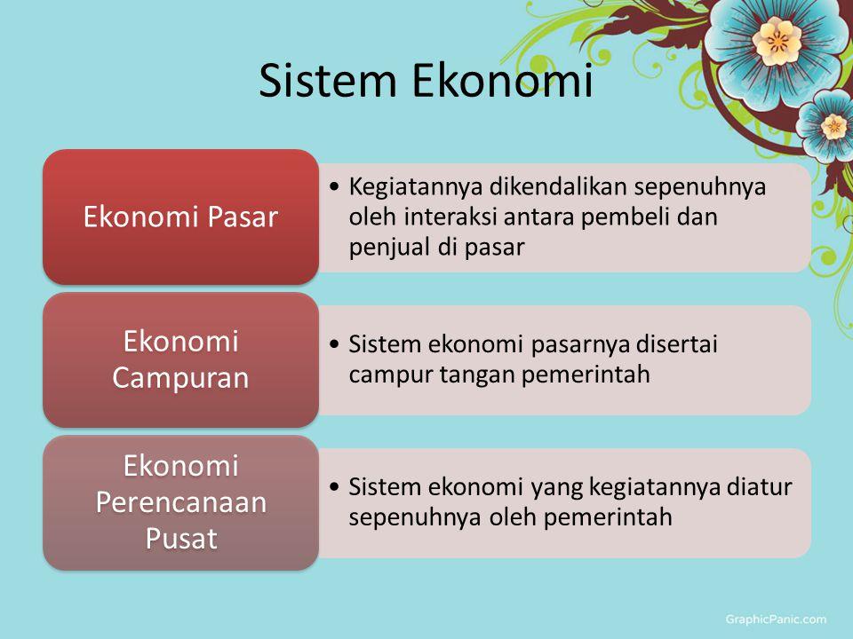 Sistem Ekonomi Kegiatannya dikendalikan sepenuhnya oleh interaksi antara pembeli dan penjual di pasar Ekonomi Pasar Sistem ekonomi pasarnya disertai c