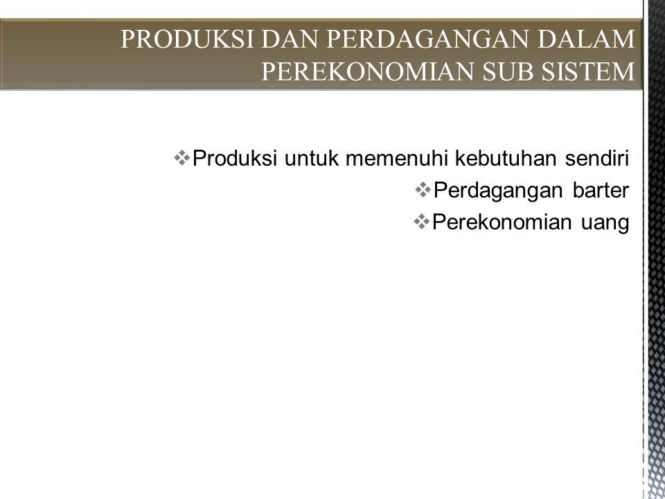  Produksi untuk memenuhi kebutuhan sendiri  Perdagangan barter  Perekonomian uang