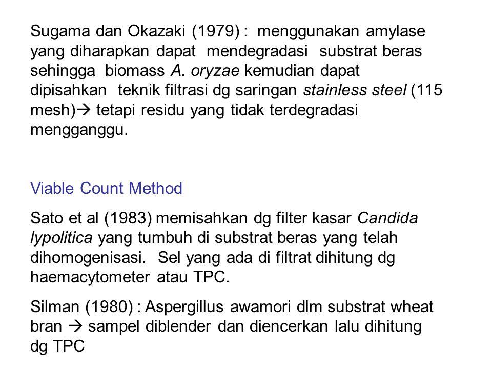 Sugama dan Okazaki (1979) : menggunakan amylase yang diharapkan dapat mendegradasi substrat beras sehingga biomass A. oryzae kemudian dapat dipisahkan