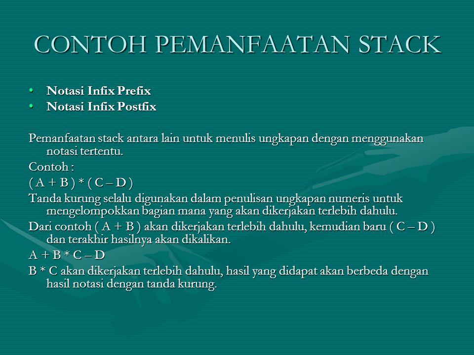 CONTOH PEMANFAATAN STACK Notasi Infix PrefixNotasi Infix Prefix Notasi Infix PostfixNotasi Infix Postfix Pemanfaatan stack antara lain untuk menulis u