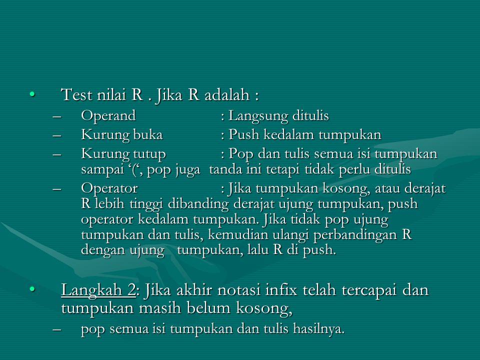 Test nilai R. Jika R adalah :Test nilai R. Jika R adalah : –Operand : Langsung ditulis –Kurung buka: Push kedalam tumpukan –Kurung tutup: Pop dan tuli