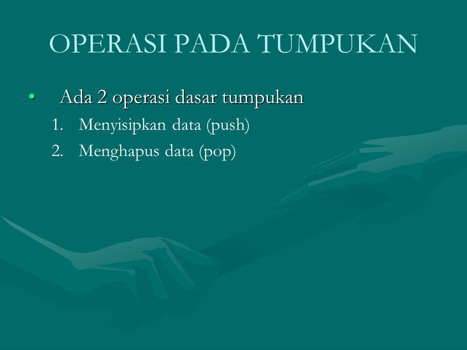OPERASI PADA TUMPUKAN Ada 2 operasi dasar tumpukanAda 2 operasi dasar tumpukan 1. 1.Menyisipkan data (push) 2. 2.Menghapus data (pop)